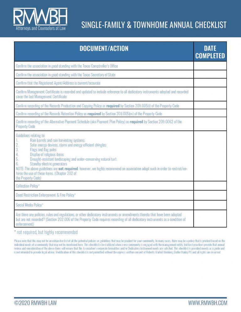 single-family-annual-checklist